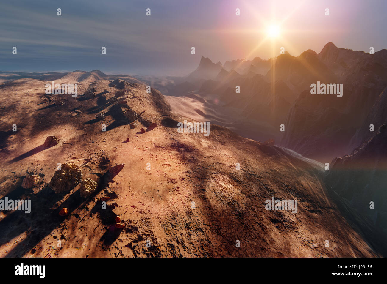 Sunset on Mars. Mountain landscape, 3d illustration Stock Photo
