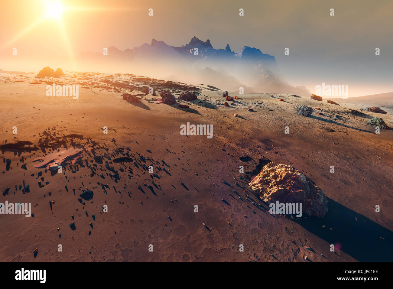 Planet Mars landscape sunset, mountains and scattered meteorite rocks, 3d illustration Stock Photo