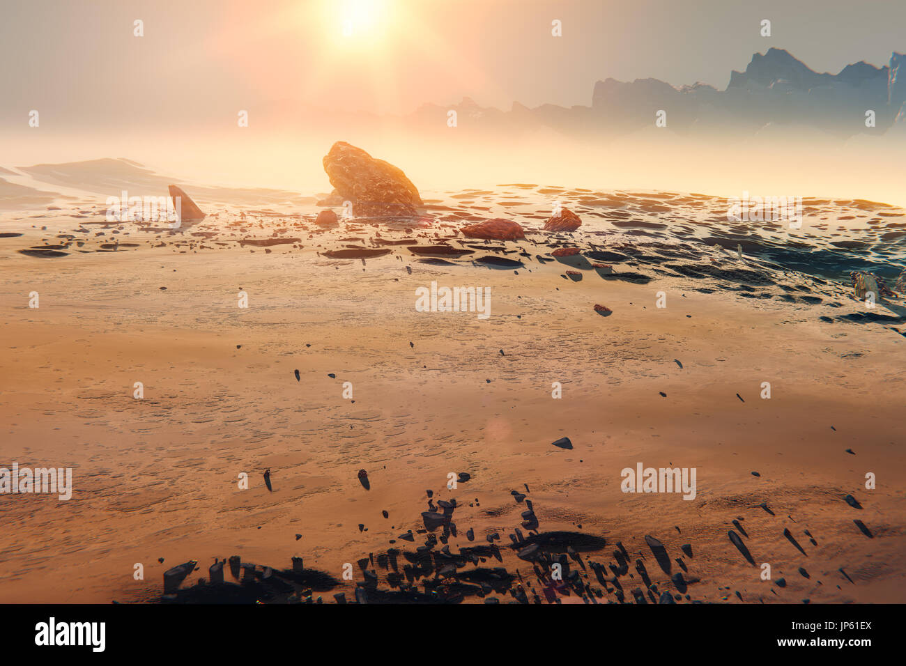 Sunset over the Martian landscape. Rocks and mountains in the mist, 3d illustration Stock Photo