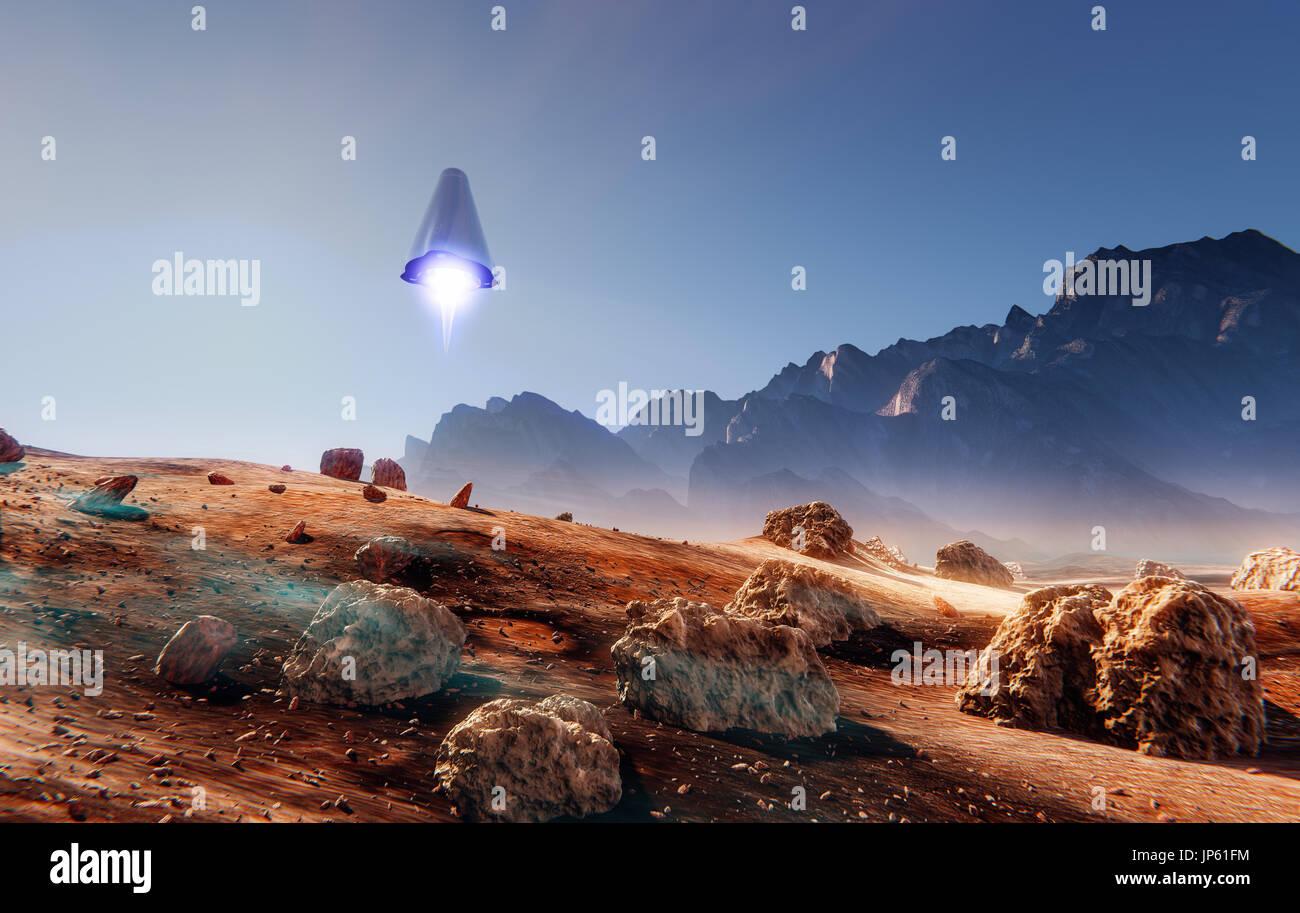 Spaceship landing on Mars, many meteorite rocks, 3d illustration Stock Photo