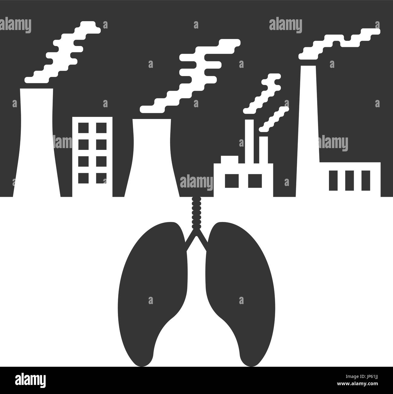 environmental issues with lungs and air pollution - Stock Vector