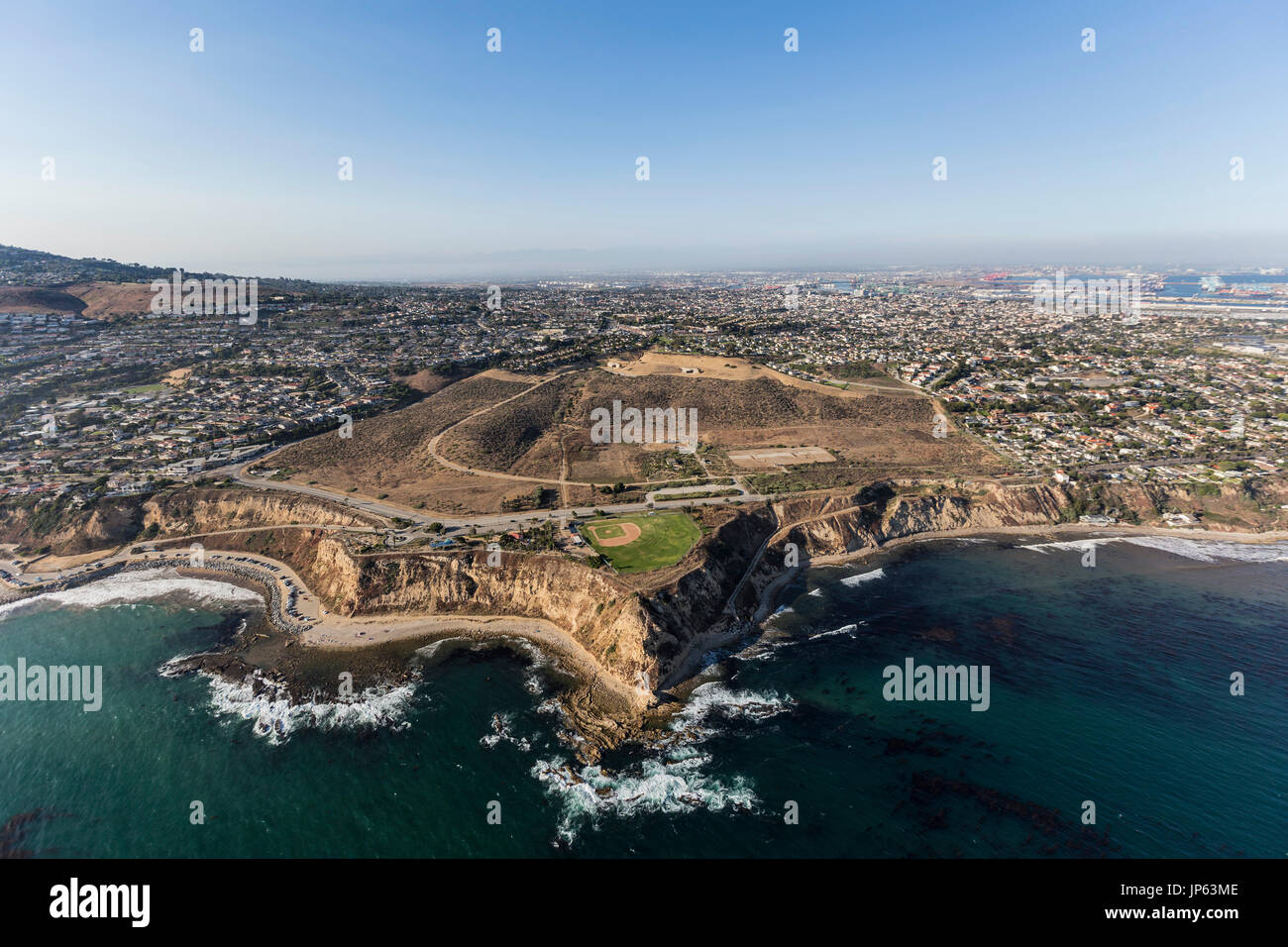 Aerial view Whites Point on the San Pedro coastline in Los Angeles, California. - Stock Image