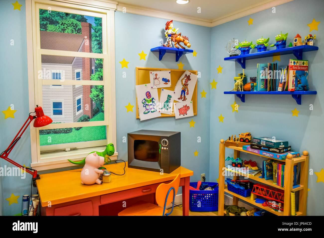 TOKYO, JAPAN - MAY 14: Toy Story room display showing in Tokyo Disneystore located at Shibuya, Tokyo - Stock Image