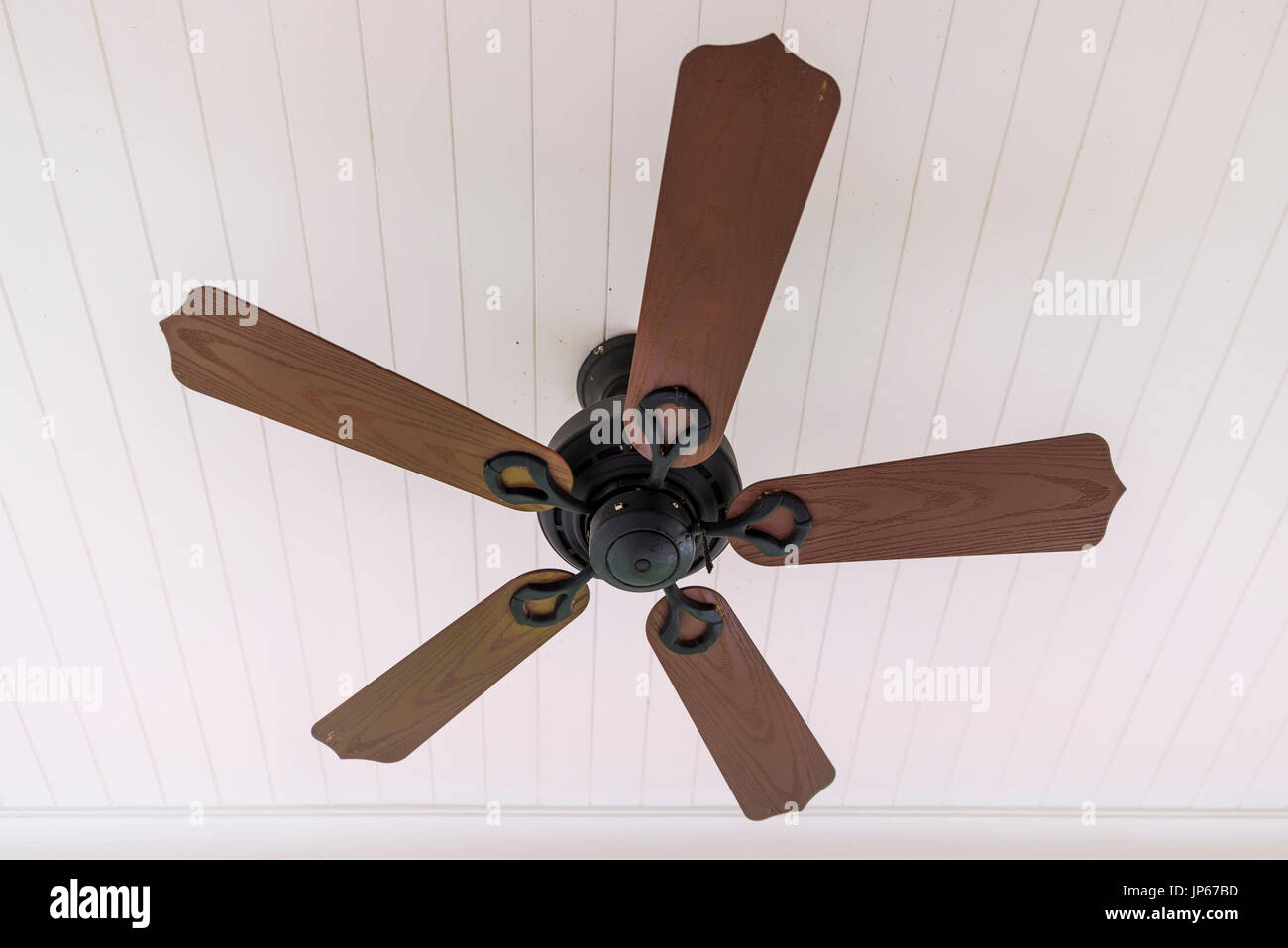 Vintage Wooden Fan Hang On Ceiling Stock Image