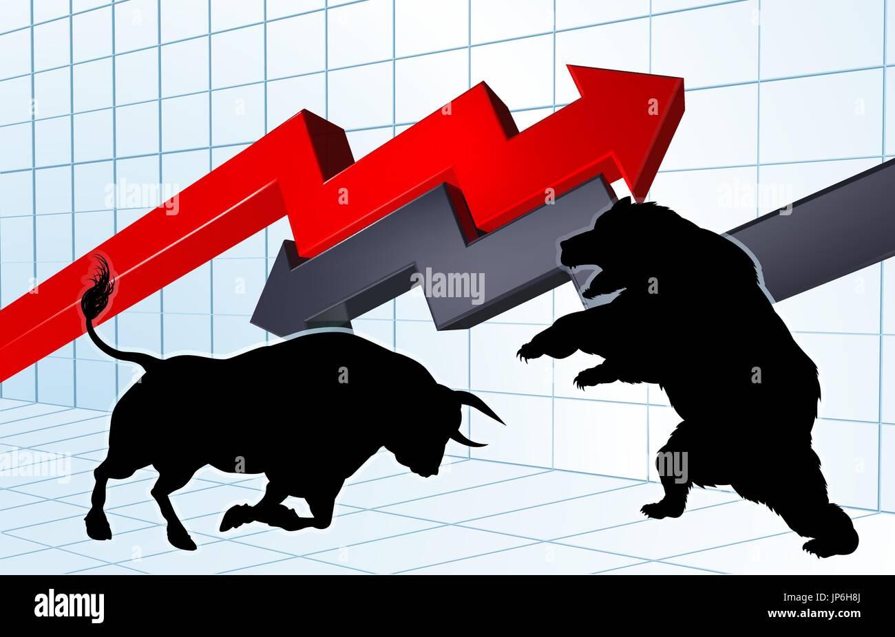 Bears Versus Bulls Stock Market Concept Stock Vector