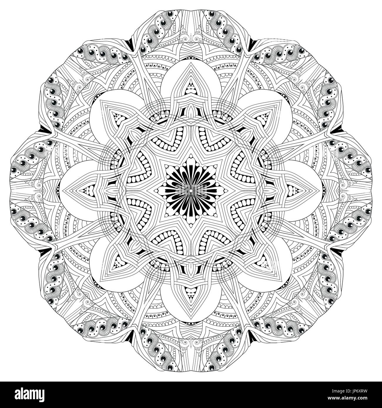 Hand Drawn Zentangle Mandala For Coloring Page Stock Vector Art