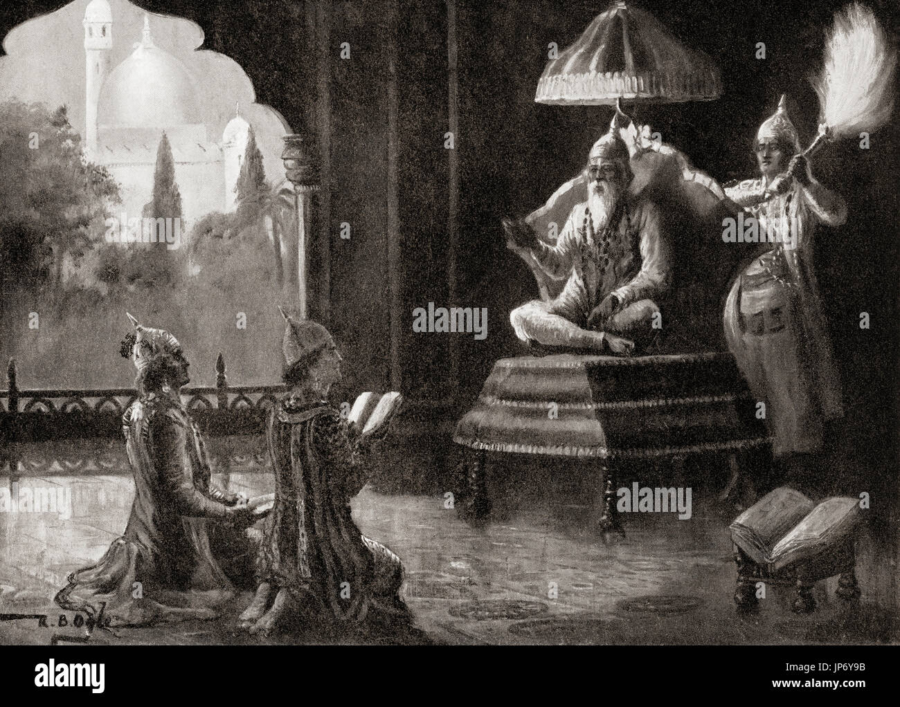 The medieval reformer Kabir and his sons, 1510.  Kabir, 15th-century Indian mystic poet and saint.  From Hutchinson's History of the Nations, published 1915. - Stock Image