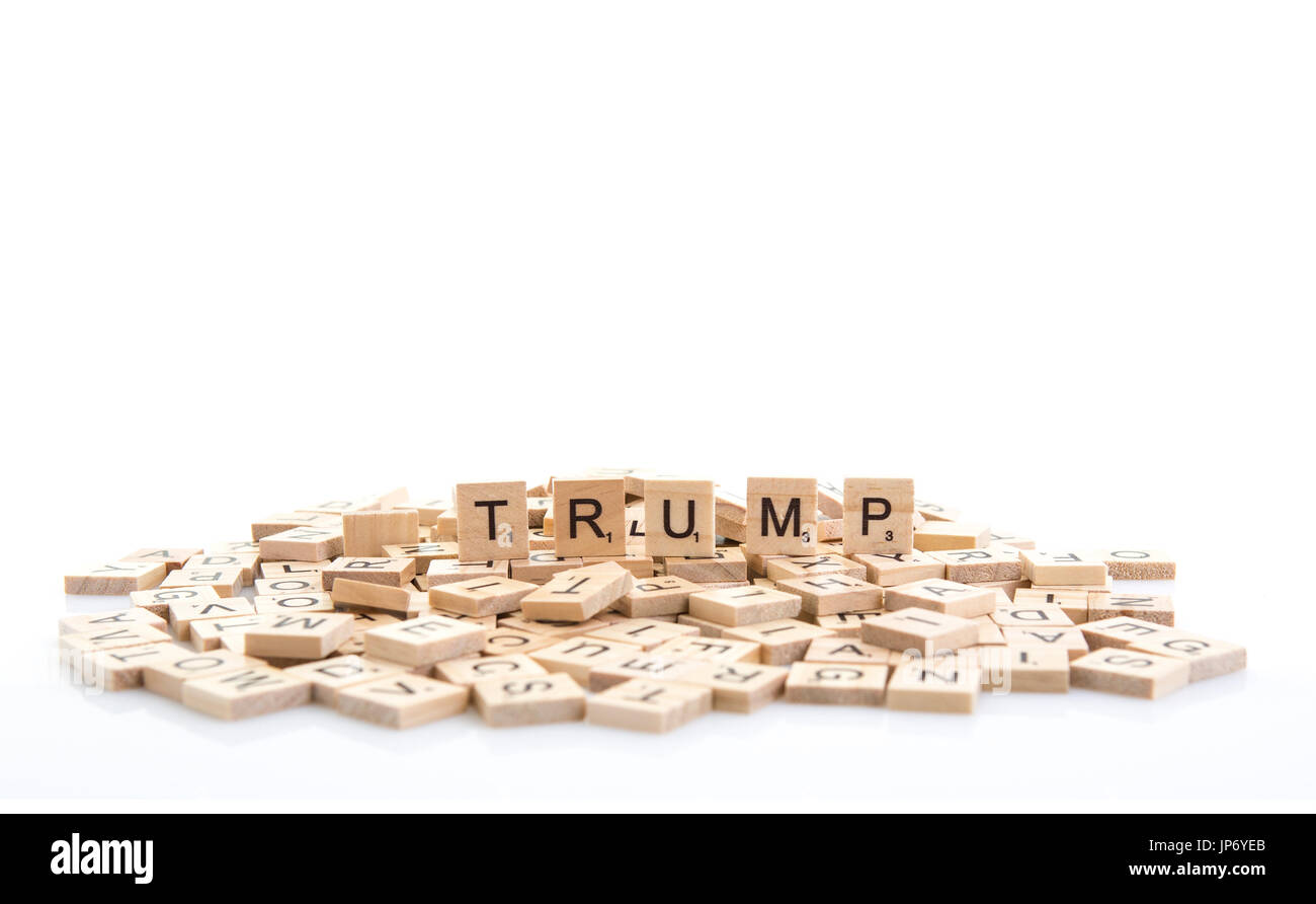 Trump spelt out on word tiles on a white background. - Stock Image