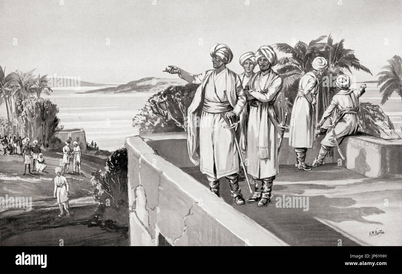 Humphrey Cooke takes possession of Bombay, India, 1665. Humphrey Cooke.  First English governor of the Bombay Presidency during the rule of the Honourable East India Company.  From Hutchinson's History of the Nations, published 1915. - Stock Image