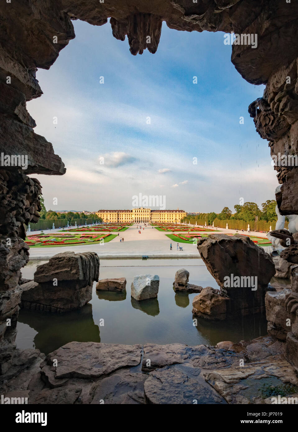 The Schonbrunn palace as viewed from the sculpture of Neptune - Stock Image