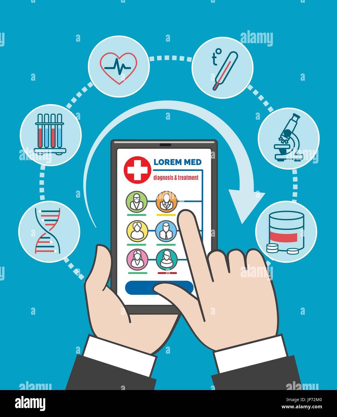 Smartphone remote medical care vector illustration  People