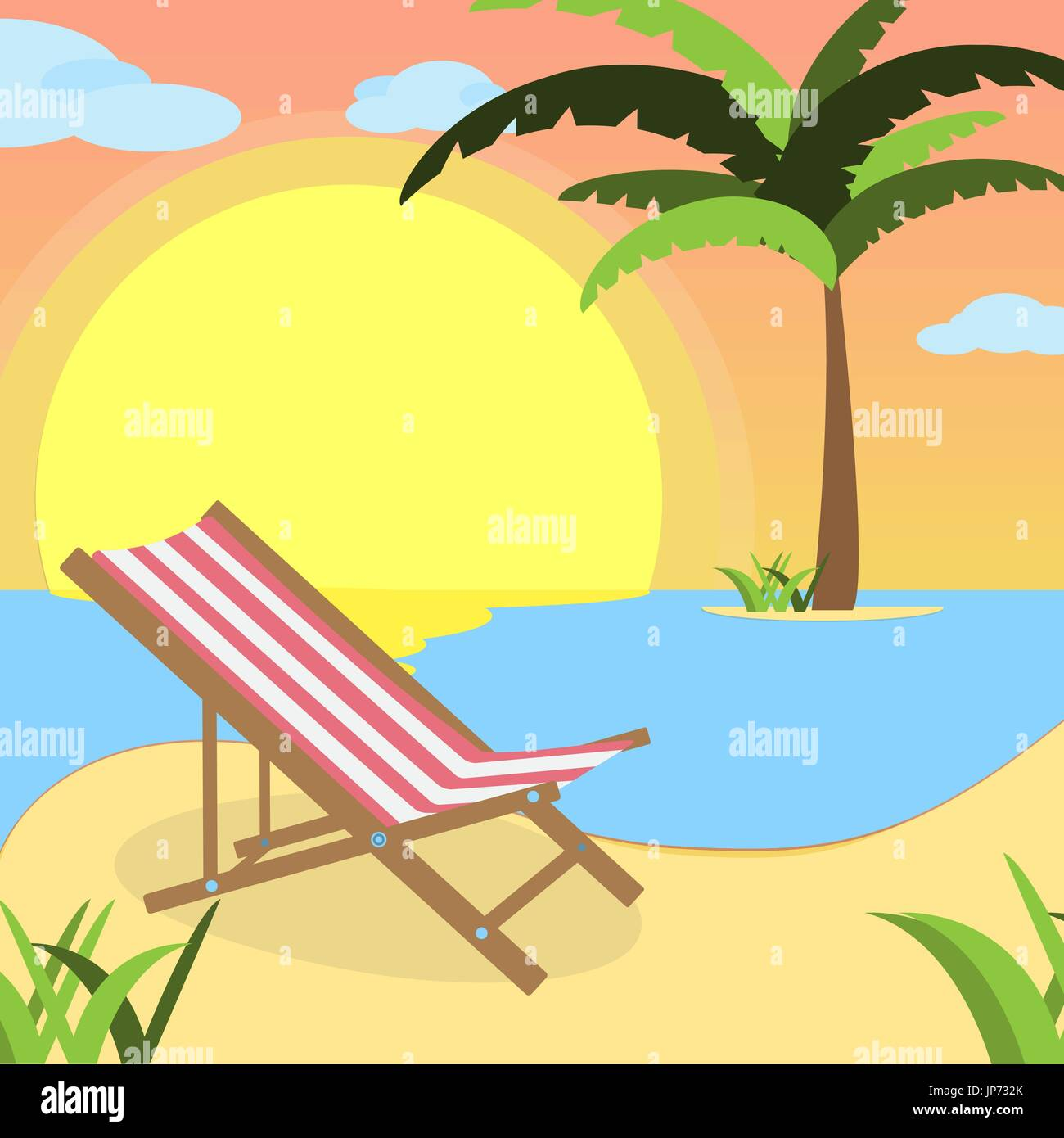 Summer background with red white lounger, of beach at sunset with waves, clouds and palm tree on the horizont. seaside view poster. vector illustration. Flat design - Stock Vector