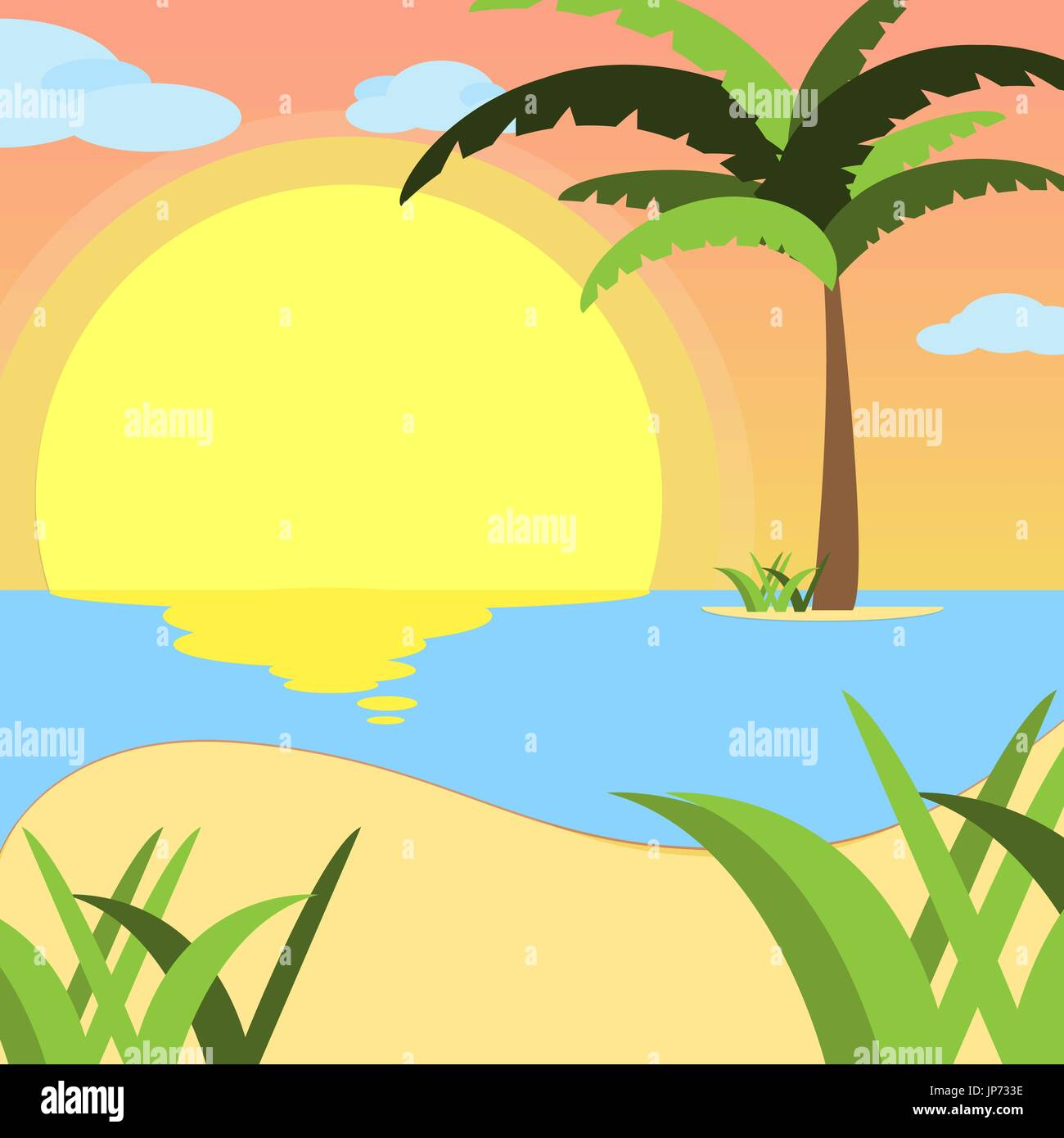 Summer background, of beach at sunset with waves, clouds and palm tree on the horizont. seaside view poster. vector Stock Vector