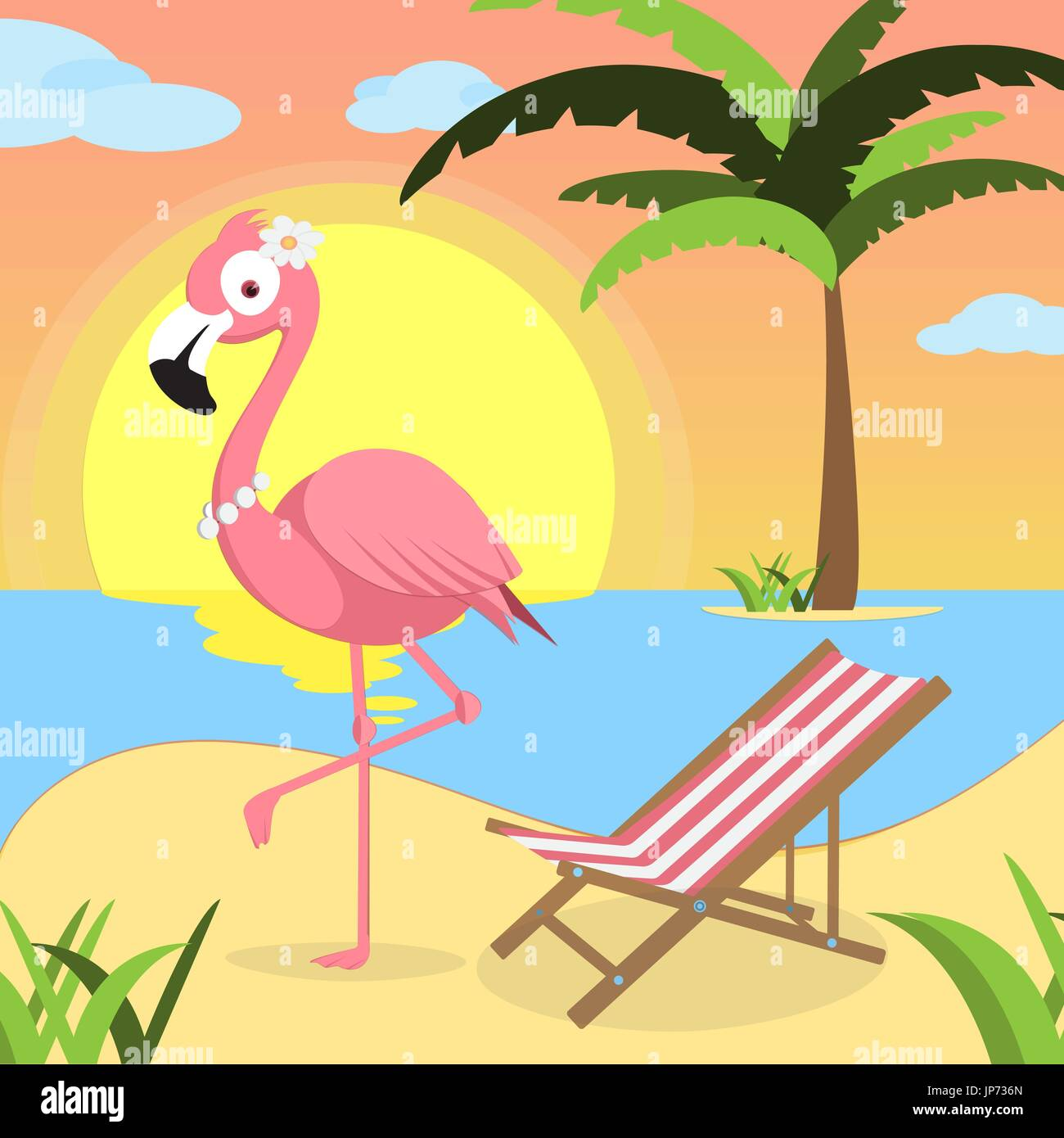 Summer background with Pink flamingo and red white lounger, of beach at sunset with waves, clouds and palm tree on the horizont. seaside view poster. vector illustration. Flat design - Stock Vector