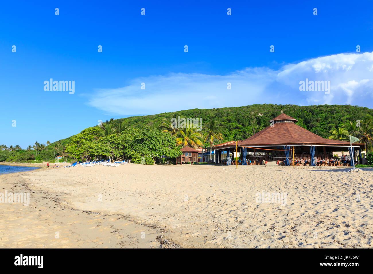Jibacoa beach and beach bar of the Memories Jibacoa Hotel, Cuba - Stock Image