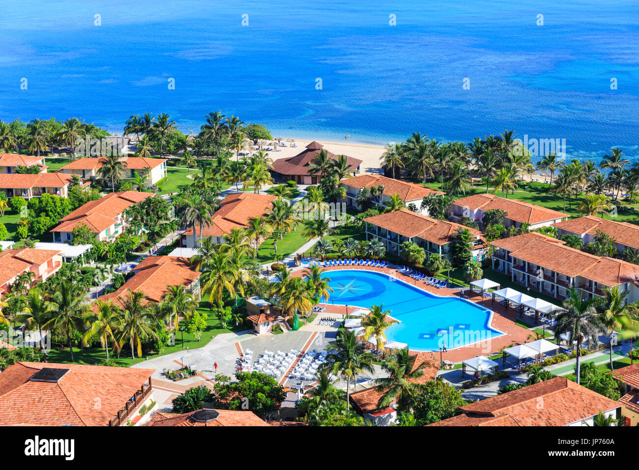 Memories Jibacoa Hotel with pool and beach from above, Cuba Stock Photo