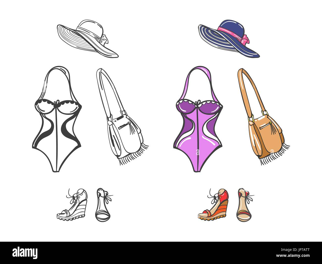 Fashion beach look for girl. Swimwear, shoes, hat and bag colorful and silhouettes. Vector illustration - Stock Vector