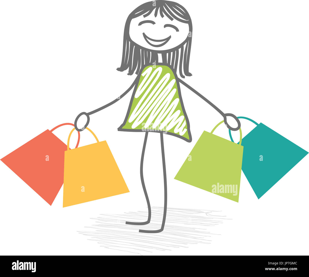 Woman with bags in arms make shoping - Stock Image