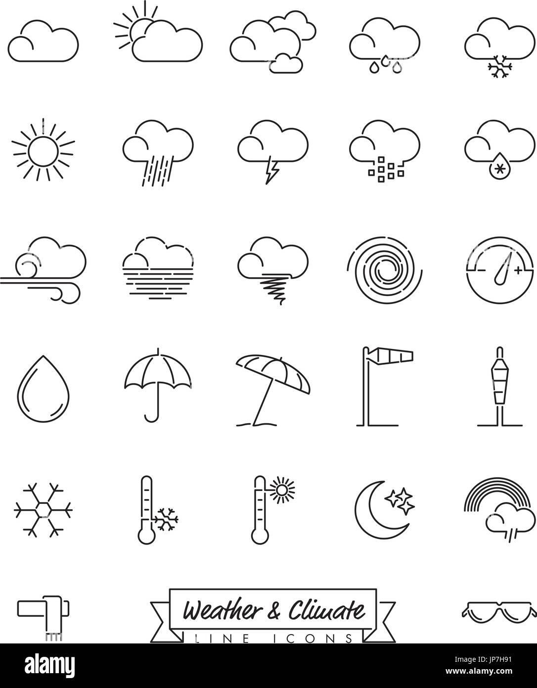 Collection of weather and climate related  line icons - Stock Vector