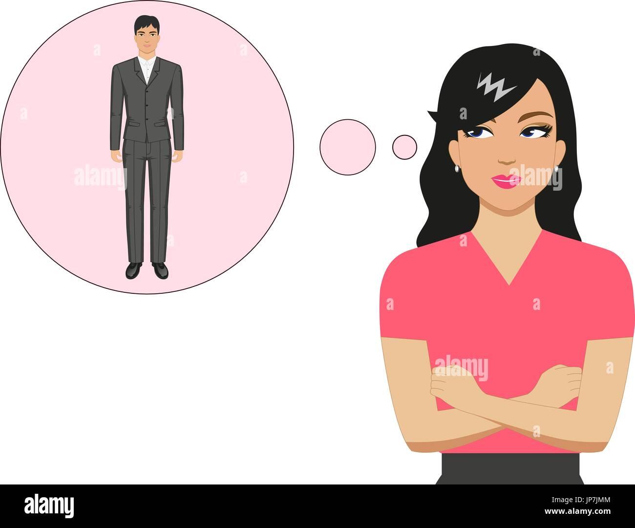 Vector cartoon girl dreams of a beautiful guy - Stock Vector