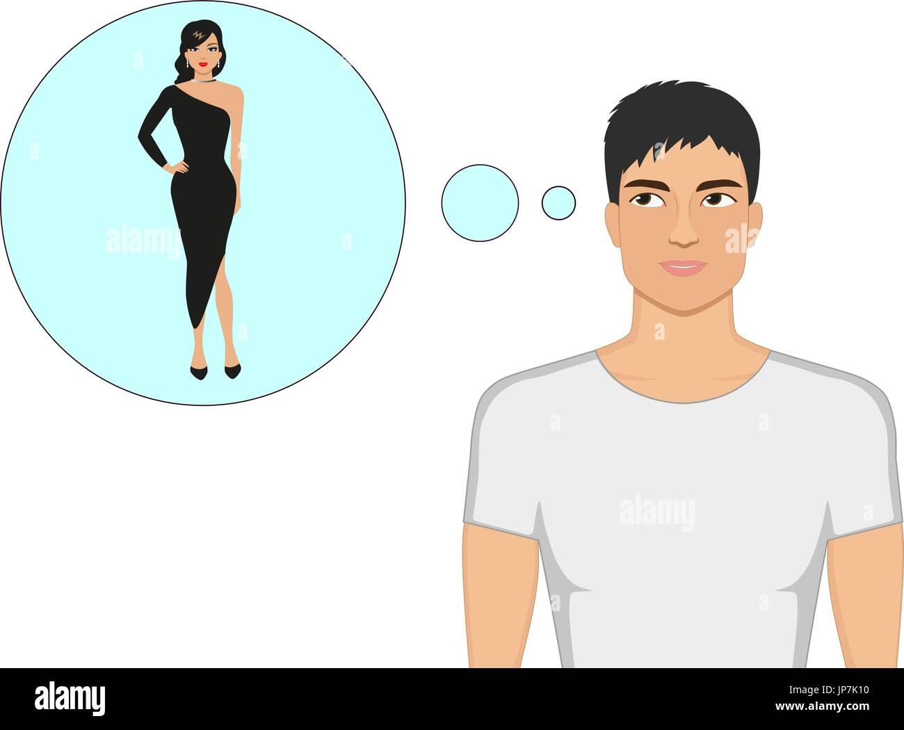 Vector cartoon guy dreams of a beautiful girl - Stock Vector
