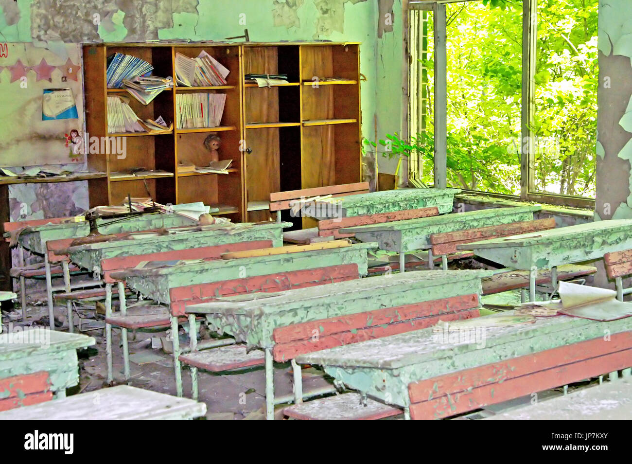 Abandoned Building Interior in school in Chernobyl Zone. Chornobyl Disaster - Stock Image