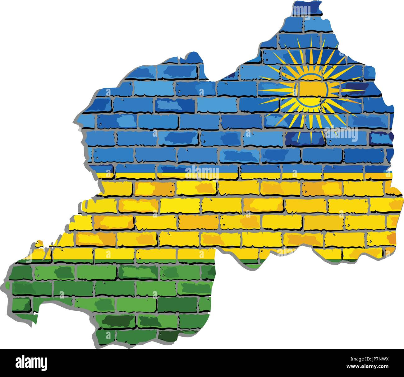 Rwanda map on a brick wall - Illustration,   Rwanda map with flag inside - Stock Vector