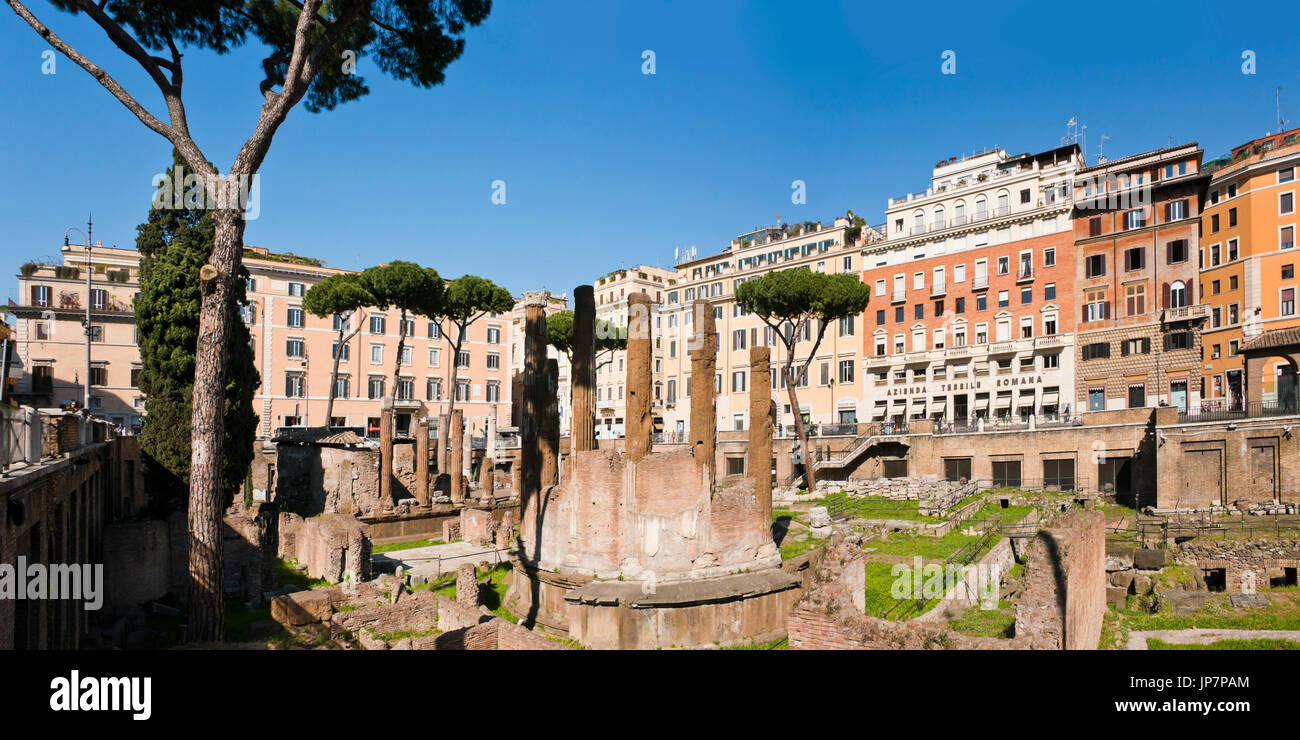 Horizontal panoramic view of Roman ruins unearthed at Largo di Torre Argentina in Rome. - Stock Image