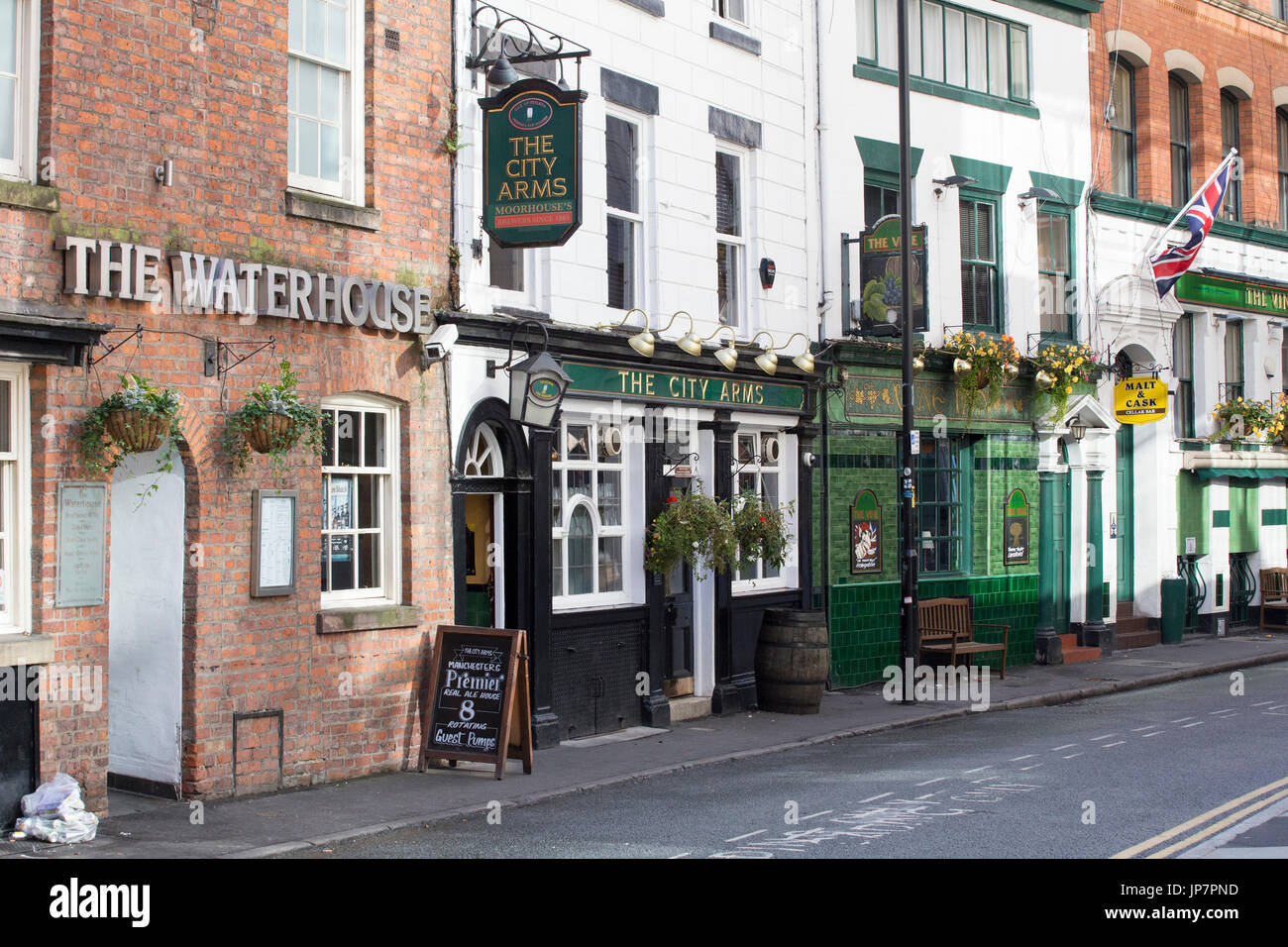Collection of historical pubs on Kennedy Street in central Manchester Stock Photo