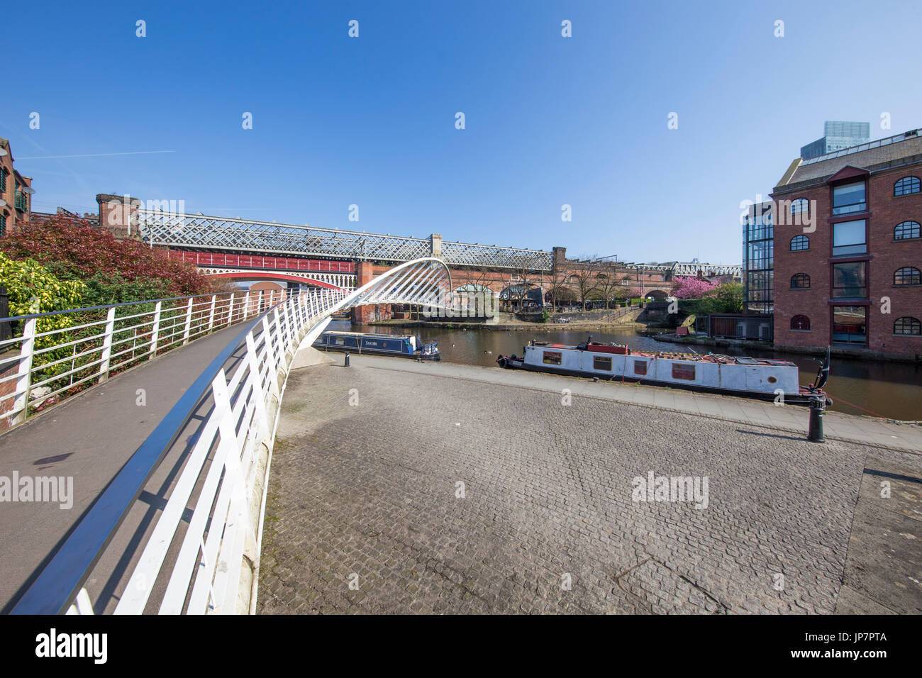 Wide view of Castlefield Basin, Manchester's industrial heritage heart on a sunny morning Stock Photo