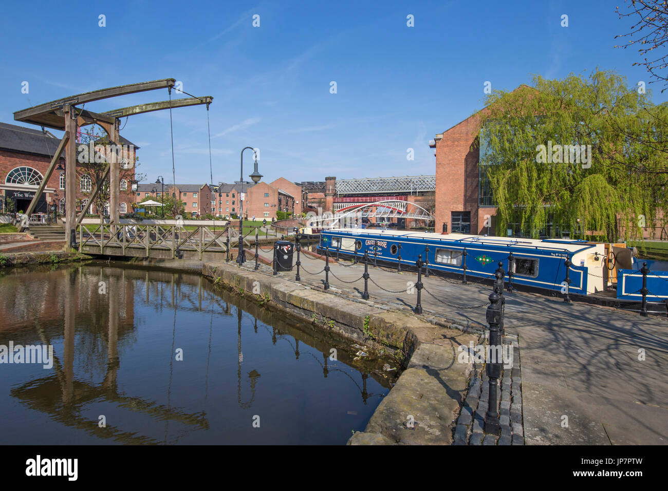 The Castlefield Basin and Canals in central Manchester. Stock Photo
