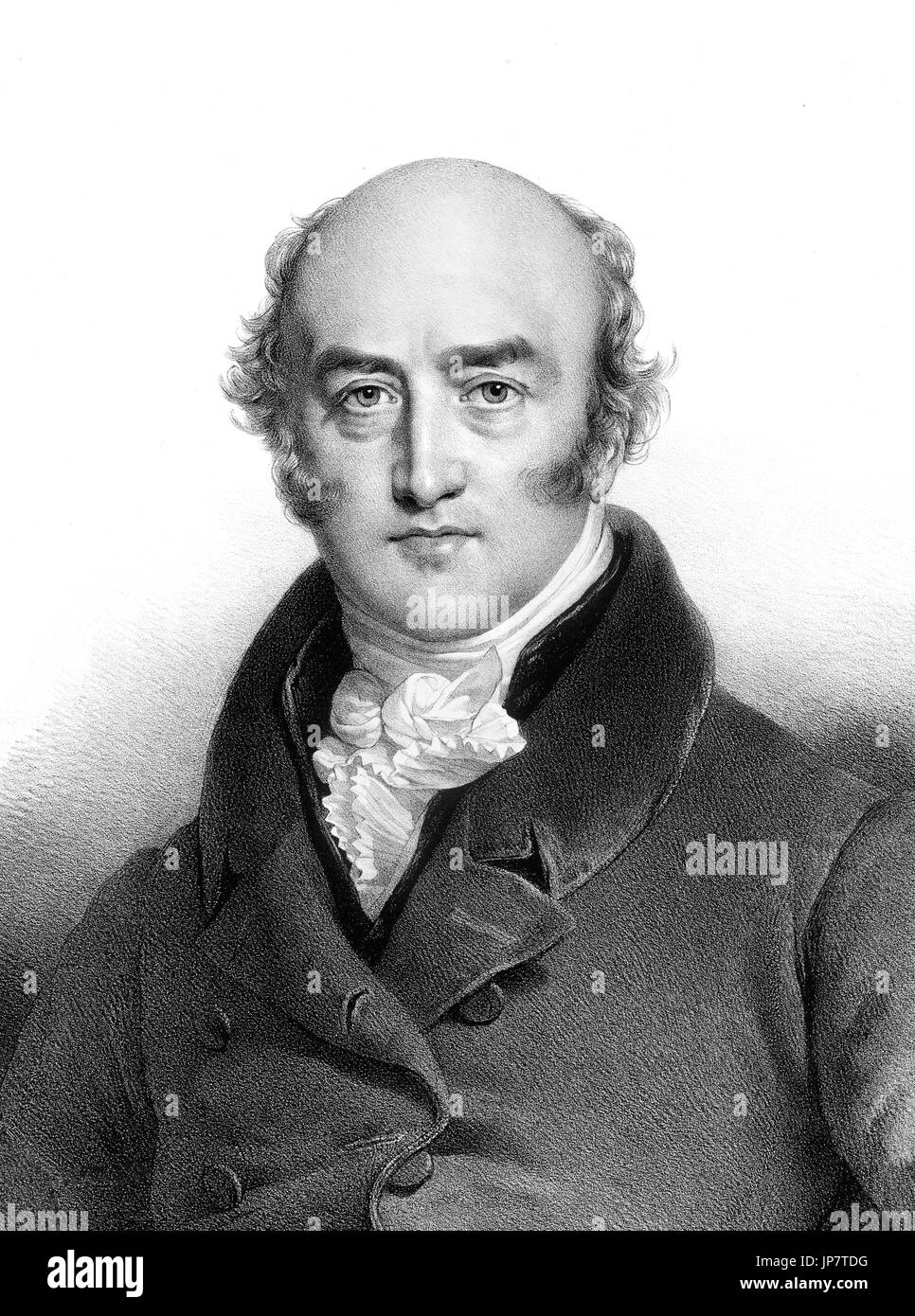George Canning (1770-1827), portrait of the shortest serving British Prime Minister . Lithograph by Charles Etienne Pierre Motte, from a painting by Henri Grevedon, 1827 - Stock Image