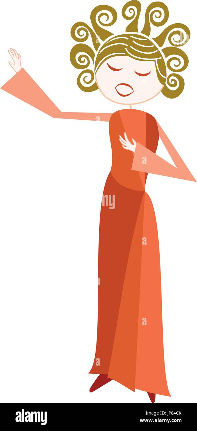 Anglais Français A woman sings with passion, opera or other more classical style - Stock Vector