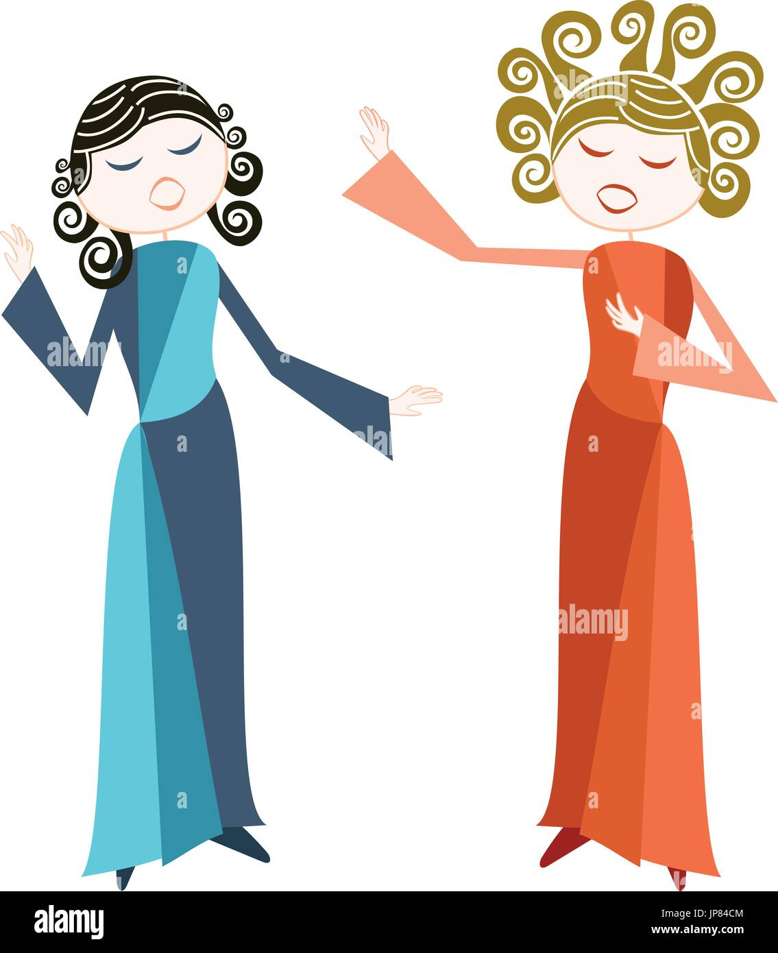 Anglais Français Two women sings with passion, opera or other more classical style - Stock Vector