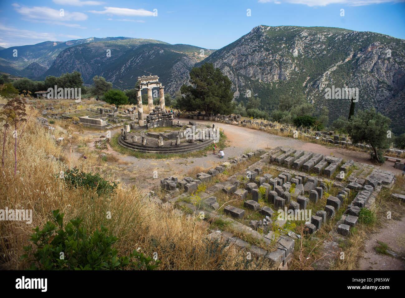 the tholos of delphi Stock Photo