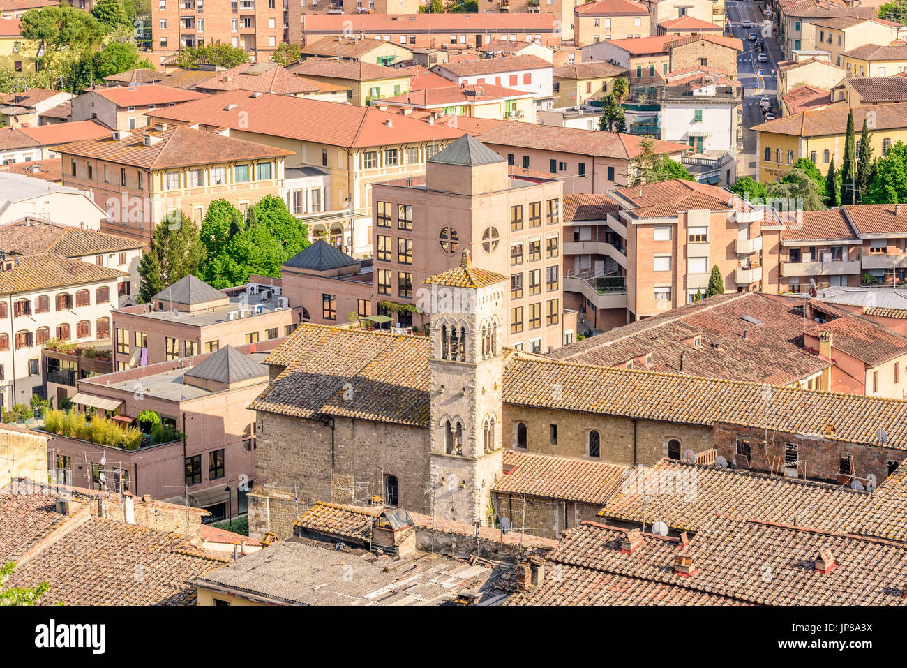 Aerial view of Colle Val d'Elsa, a town near Siena in Tuscany, Italy Stock Photo