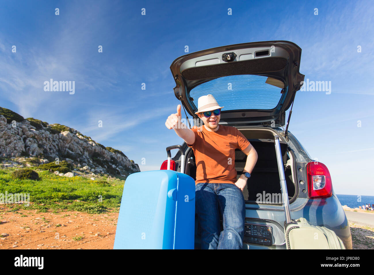 Funny Happy Man Going On Summer Vacation Car Travel Concept