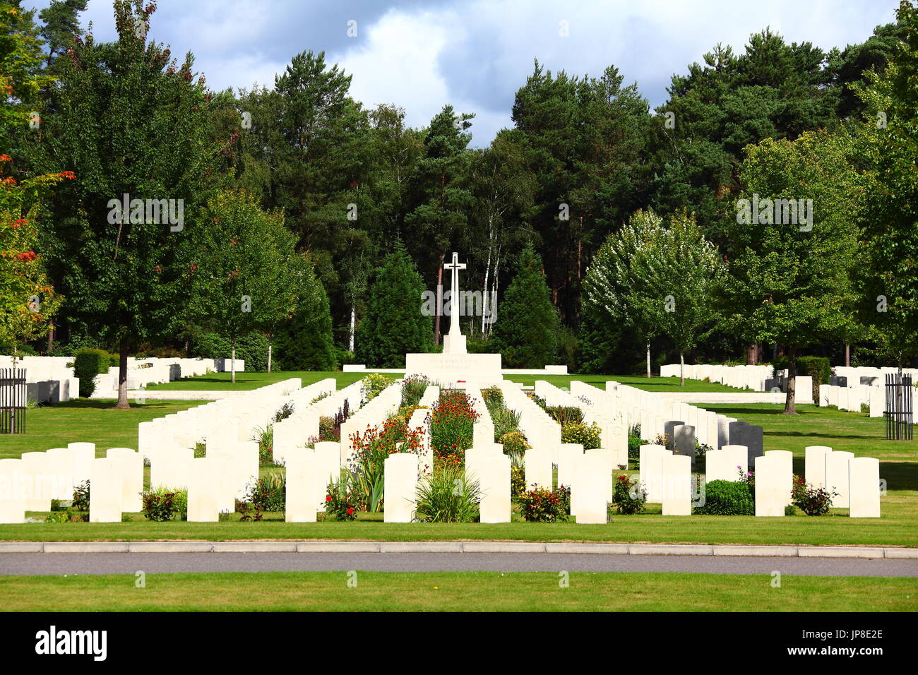 Brookwood Cemetery and Military Cemetery, also known as the London Necropolis, in Surrey. The largest cemetery in Stock Photo