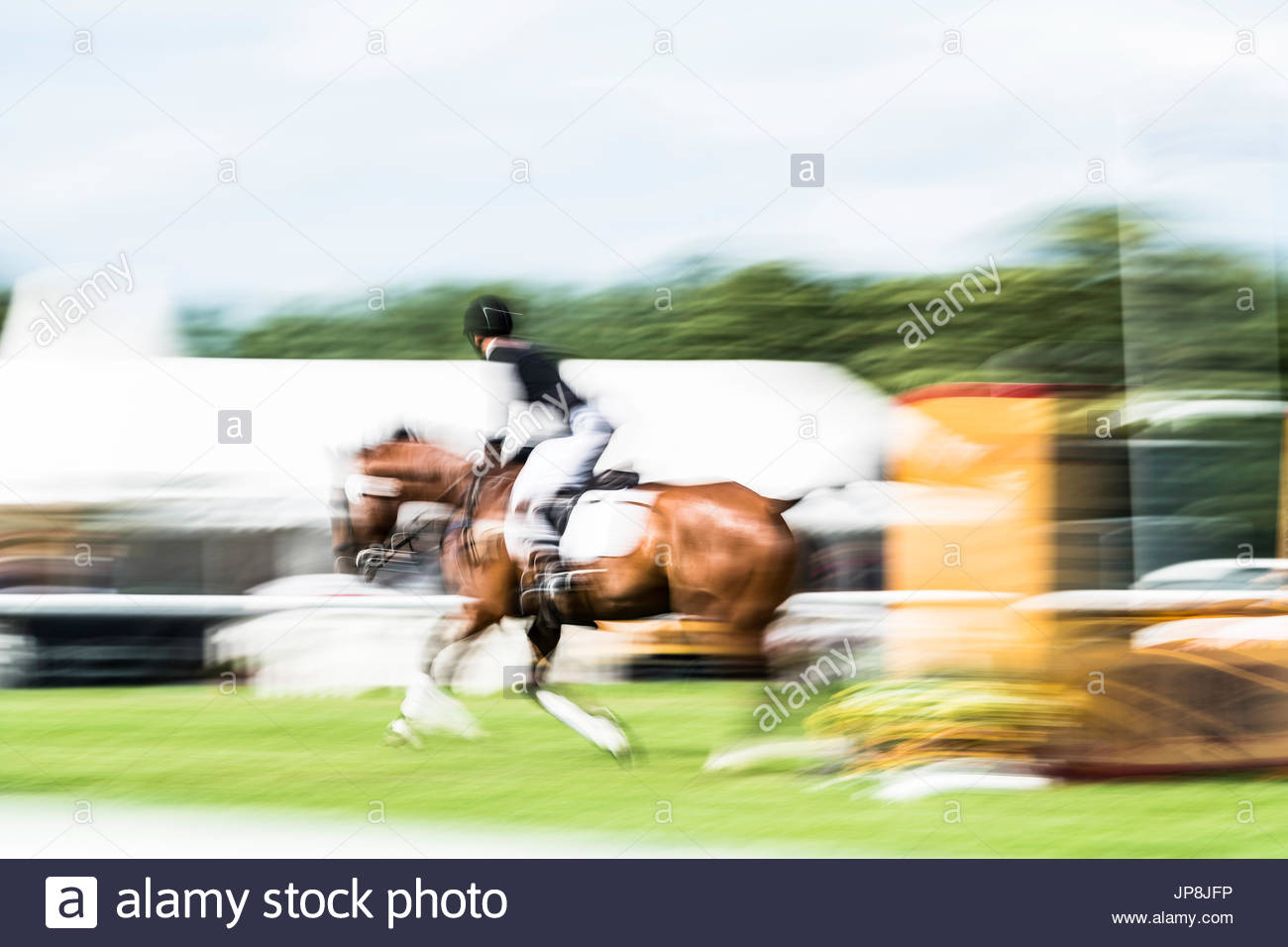 Burgham, Morpeth, Northumberland, UK. 28/29th July 2017. Eventers compete at Burgham International Horse Trials Stock Photo