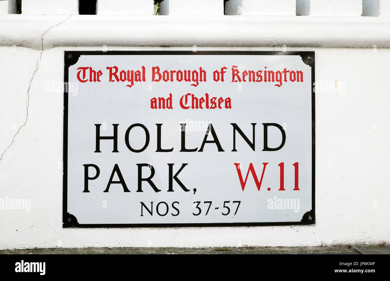 The Royal Borough of Kensington and Chelsea Holland Park W11 street sign in West London W11 England United Kingdom    KATHY DEWITT - Stock Image