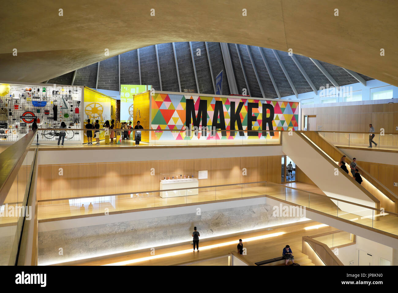 Interior view of the Design Museum MAKER graphics sign in the former Commonwealth Institute in Kensington, London UK  KATHY DEWITT - Stock Image