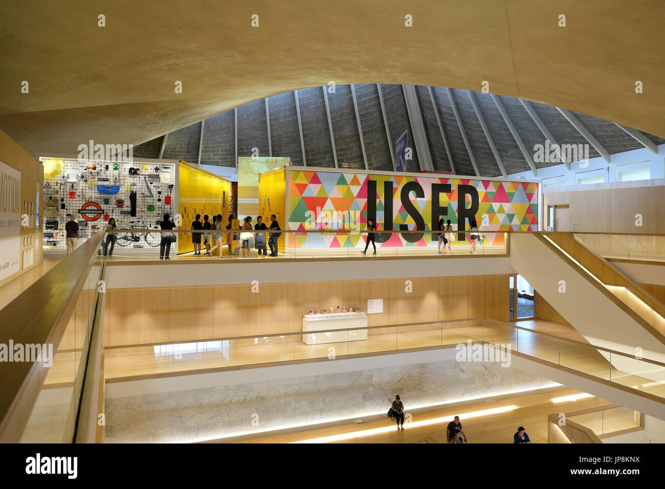 Interior view of the Design Museum USER graphics sign in the former Commonwealth Institute in Kensington, London UK  KATHY DEWITT - Stock Image