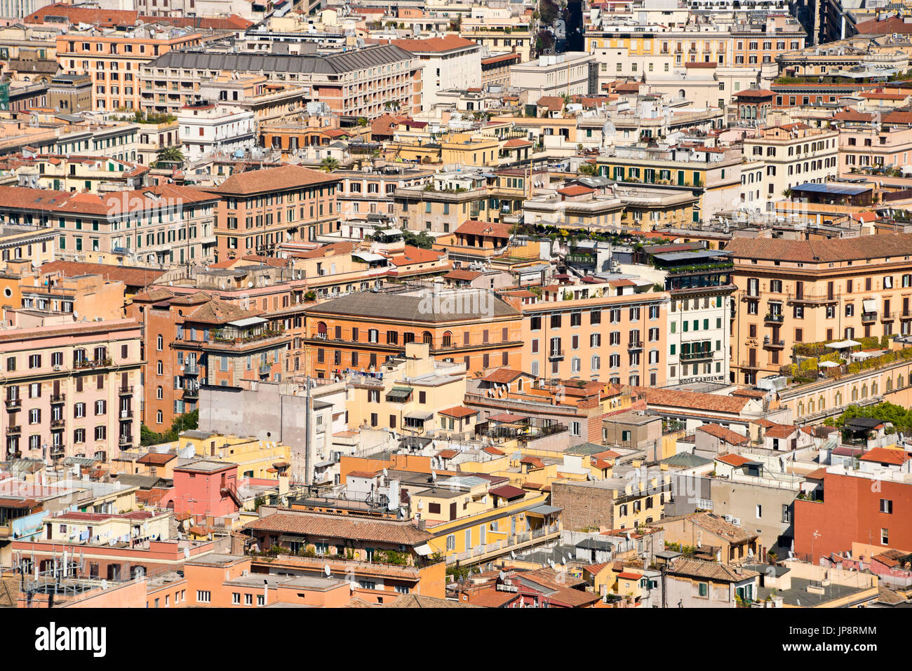 Horizontal aerial cityscape across the rooftops of Rome. - Stock Image