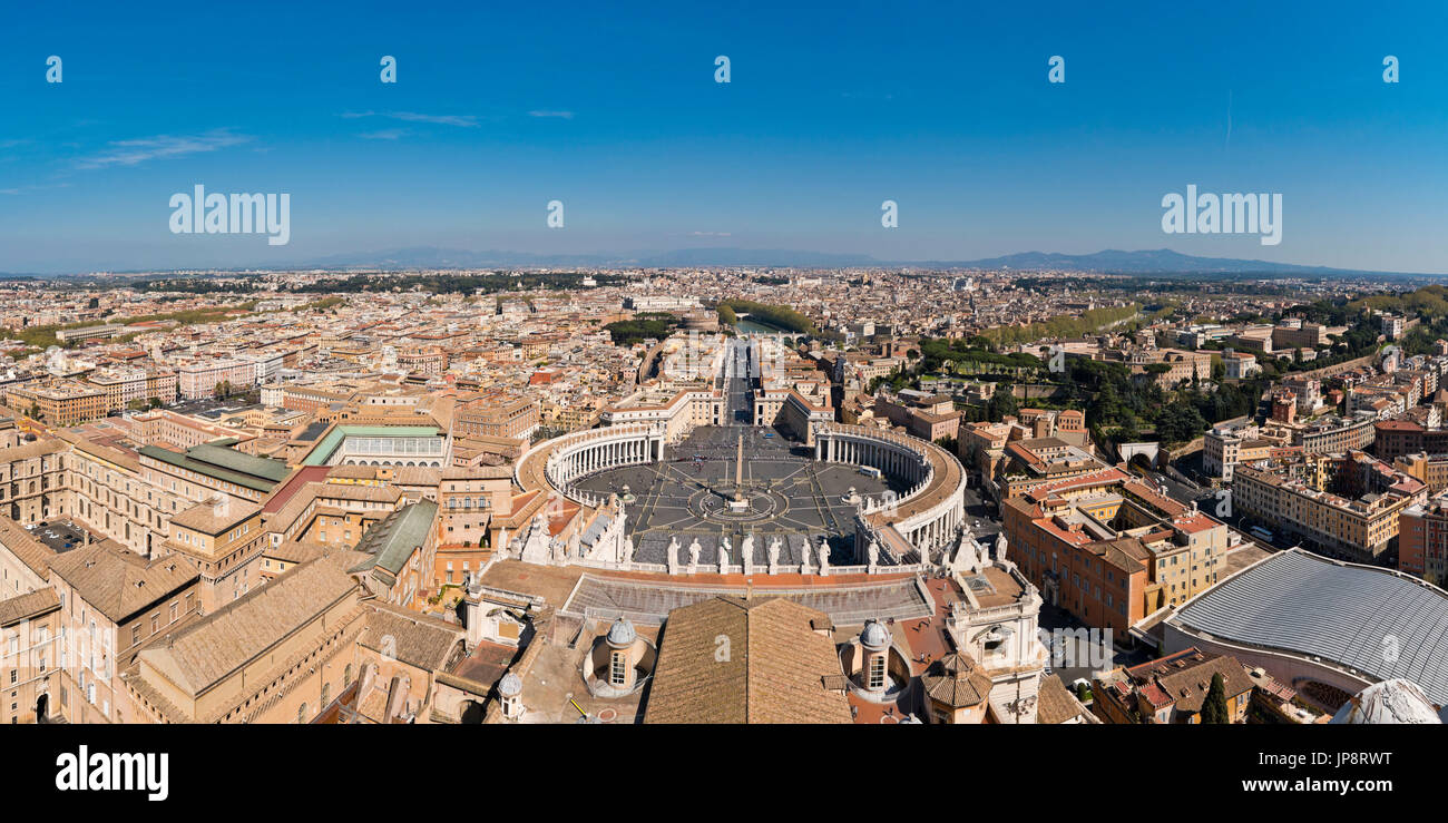 Horizontal Aerial Panoramic View Of St Peters Square River Tiber And Areas Rome