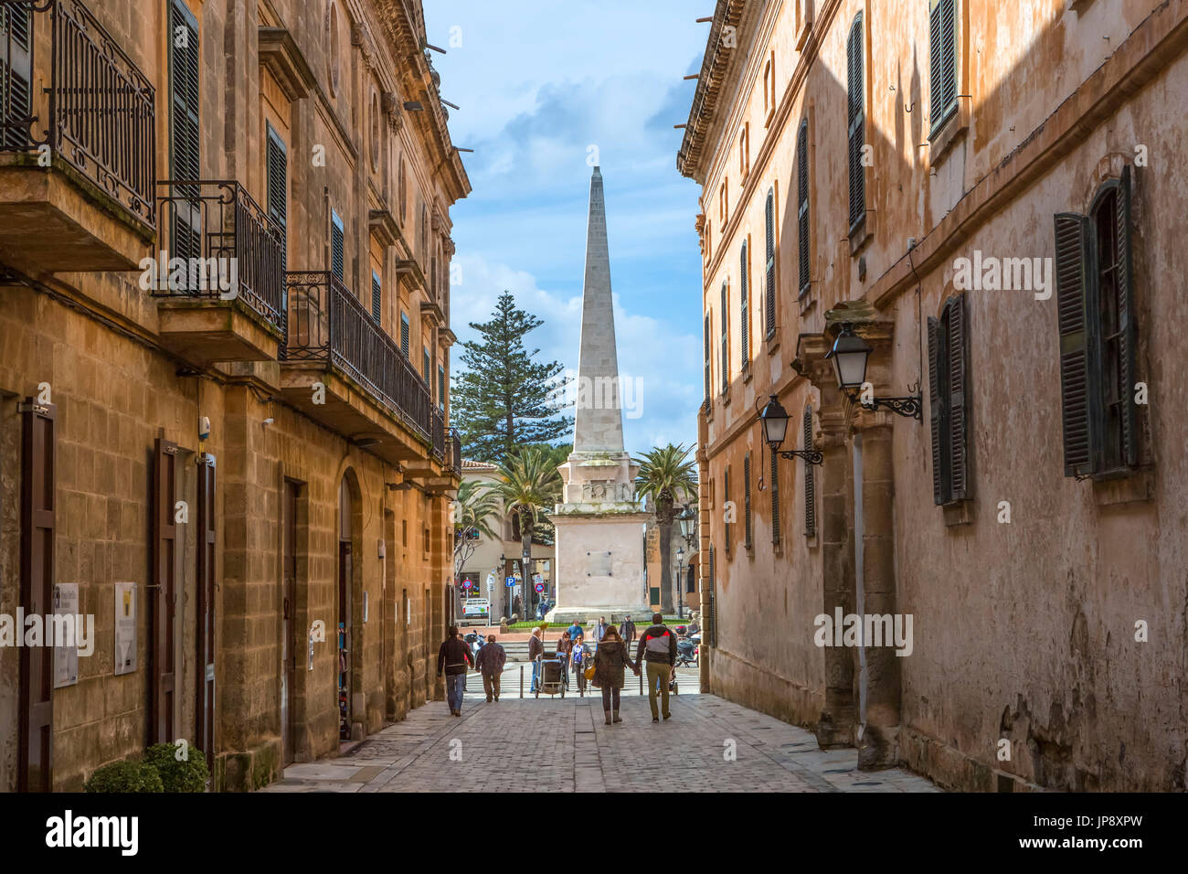Spain, Balearic Islands, Menorca Island, Ciutadella City, Mayor des Born Street - Stock Image