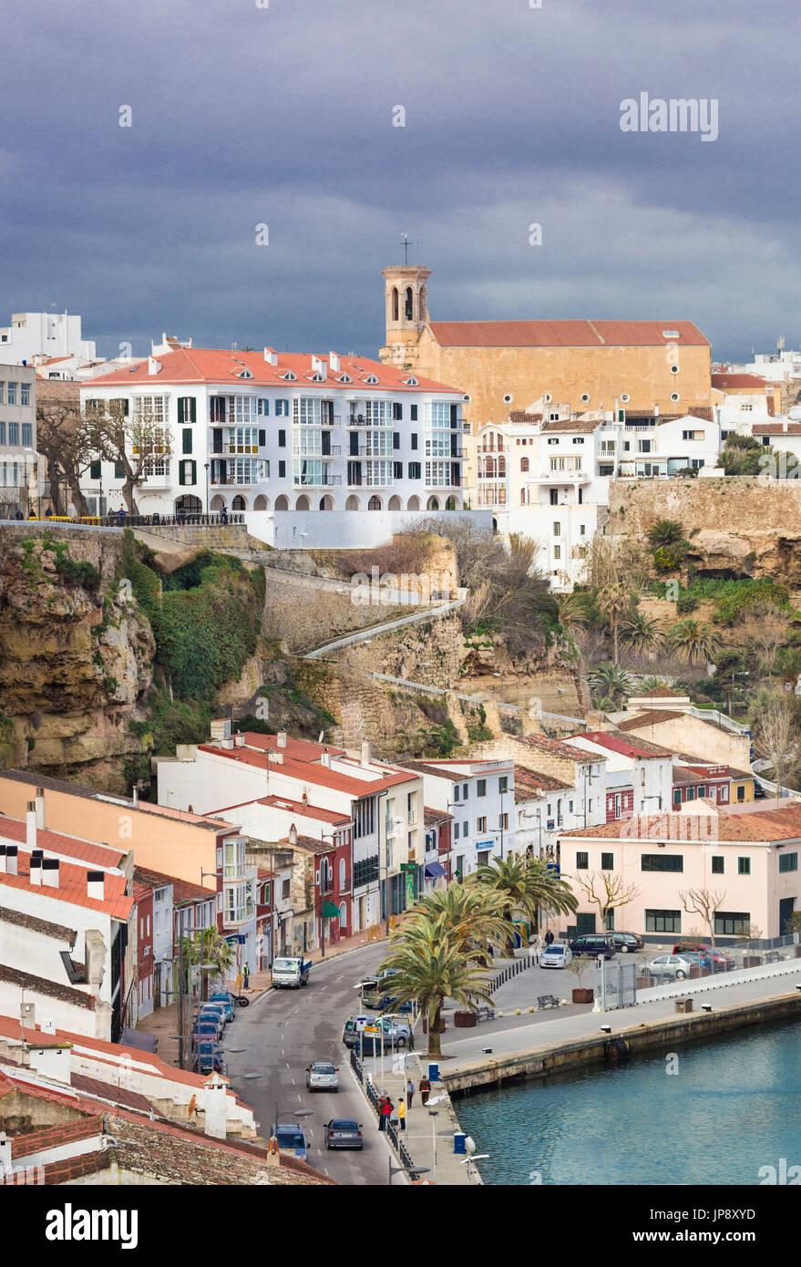 Spain balearic Islands, Menorca Island, Mao city skyline, - Stock Image