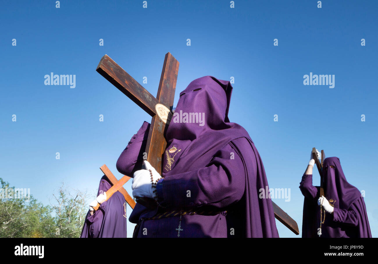 Spain, Andalucia Region, Cordoba City, Holy Thursday Parade, penitents, - Stock Image