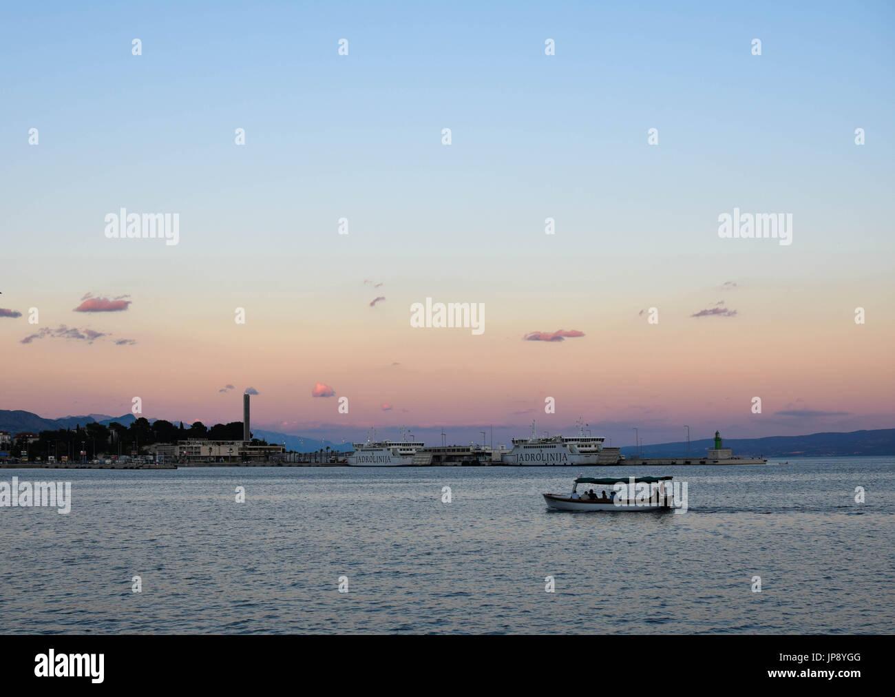 Beautiful sunset in Split, Croatia. 2017 - Stock Image