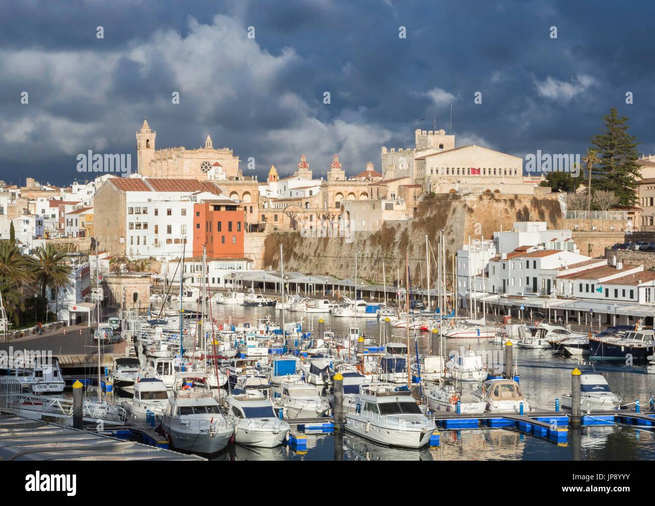 Spain, Balearic Islands, Menorca Island, Ciutadella City and port - Stock Image