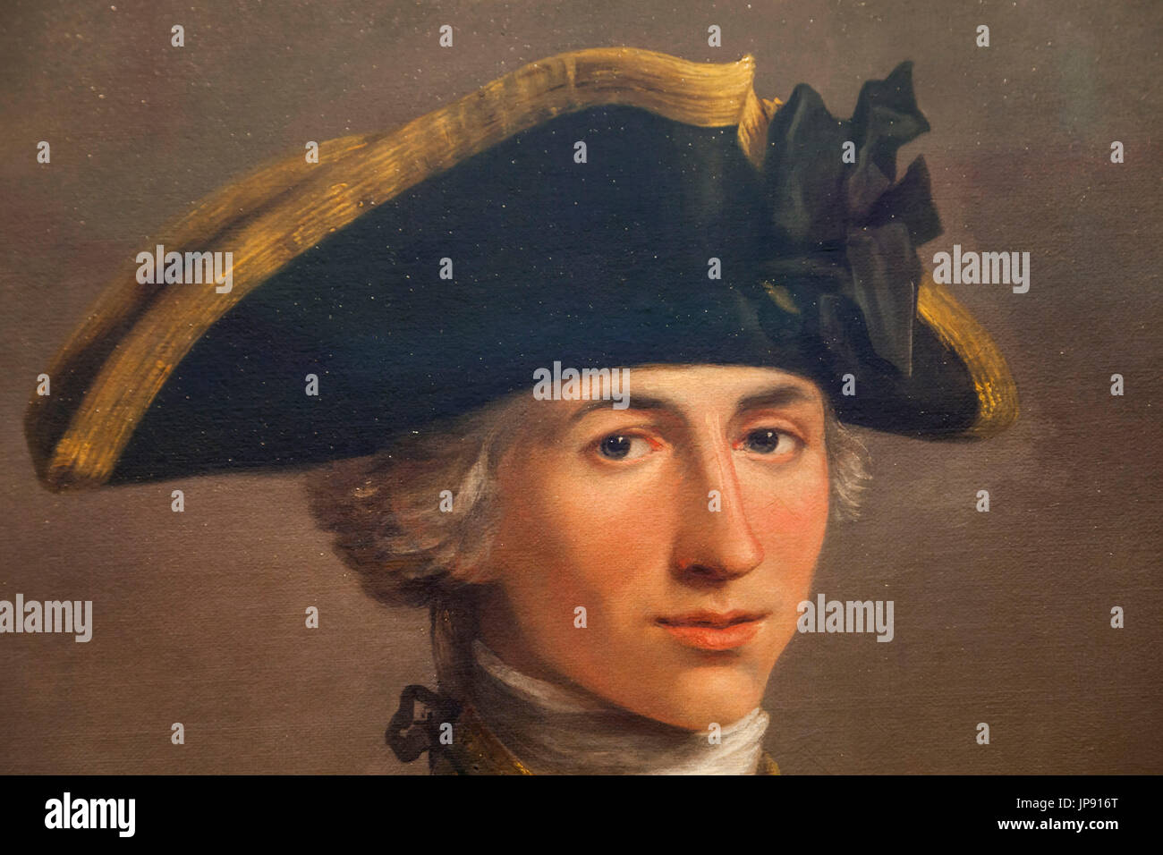 England, London, Greenwich, National Maritime Museum, Portrait of Captain Horatio Nelson by John Francis Rigaud dated 1777-81 Stock Photo